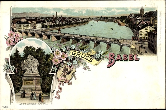 Litho Bâle Basel Stadt Schweiz, Rheinbrücke, Straßburger Denkmal