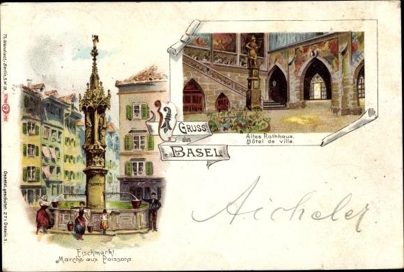 Litho Bâle Basel Stadt Schweiz, Fischmarkt, Marché aux poissons, Altes Rathaus, Hôtel de ville