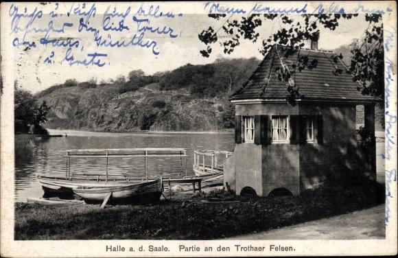 Ak Trotha Halle an der Saale, Partie an den Trothaer Felsen, Panorama, Ruderboote