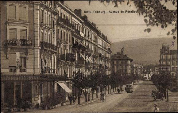 Ak Fribourg Freiburg Stadt Schweiz, Avenue de Perolles