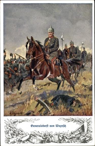 Künstler Ak Generalfeldmarschall Remus von Woyrsch, Portrait, Schlachtszene