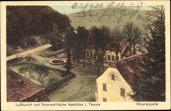 Ak Nastätten im Rhein Lahn Kreis, Mineralquelle, Außenansicht, erhöhter Blick