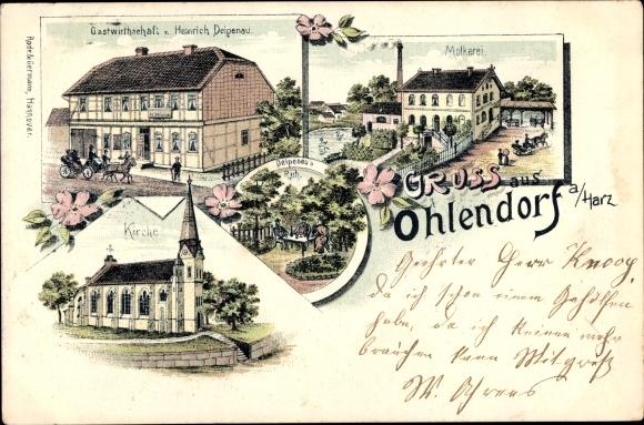 Litho Ohlendorf Salzgitter in Niedersachsen, Gastwirtschaft Heinrich Deipenau, Molkerei, Kirche