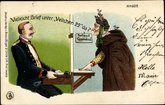 Litho Vielleicht Brief unter Veilchen 29 da, Alte Frau, Postbeamter, Bruno Brüger 6611