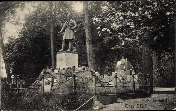 Ak Berlin Neukölln Rixdorf, Hasenheide, Jahn Denkmal