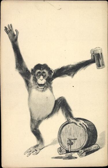 Künstler Ak Affe mit einem Bierfass, Bierglas