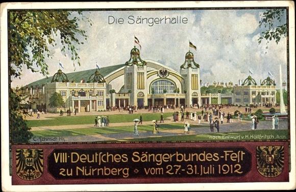 Passepartout Ak Nürnberg in Mittelfranken Bayern, 8. Deutsches Sängerbundesfest 1912, Sängerhalle