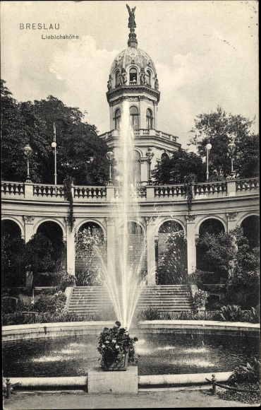 Ak Wrocław Breslau Schlesien, Liebichshöhe, Springbrunnen