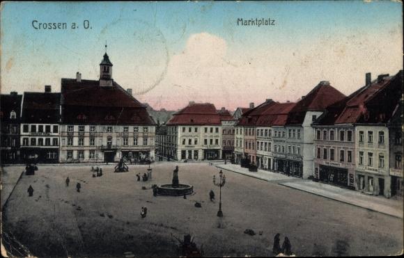Ak Krosno Odrzańskie Crossen Oder Ostbrandenburg, Marktplatz, Geschäftshäuser