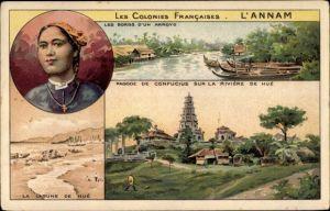 Litho Annam Vietnam, Les Colonies Francaises, Pagode de Confucius sur la Riviere de Hué