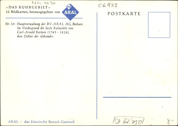 Bochum Karte.Künstler Ak Bochum Im Ruhrgebiet Aral Hauptverwaltung Carl Arnold Kortum Ruhestätte Karte Nr 10
