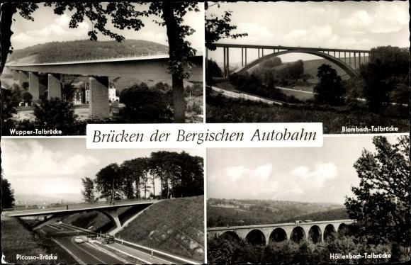 Ak Brücken der Bergischen Autobahn, Blombachtalbrücke, Höllenbachtalbrücke, Picasso Brücke