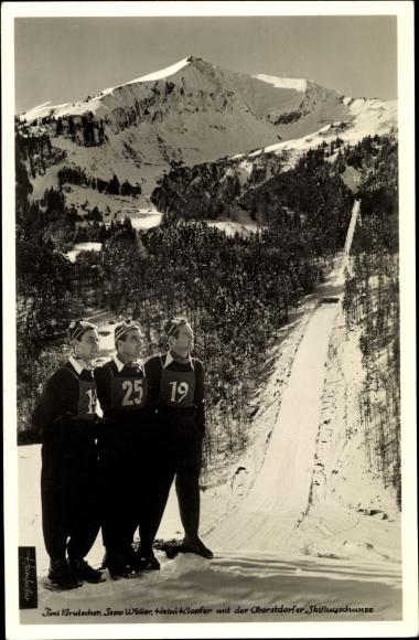 Ak Oberstdorf im Oberallgäu, Skiflugschanze, Toni Brutscher, Sepp Weiler, Heini Klopfer