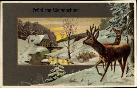 Präge Litho Glückwunsch Weihnachten, Winterlandschaft mit Fluss, Rehe, Haus