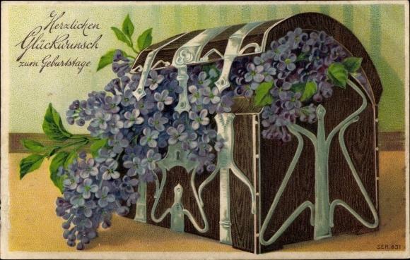 Präge Litho Glückwunsch Geburtstag, Fliederzweige in einer Kiste
