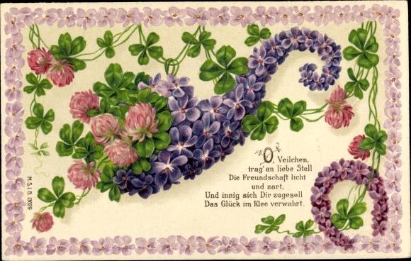 Präge Litho O Veilchen trag an liebe Stell die Freundschaft licht und zart, Hufeisen, Kleeblätter