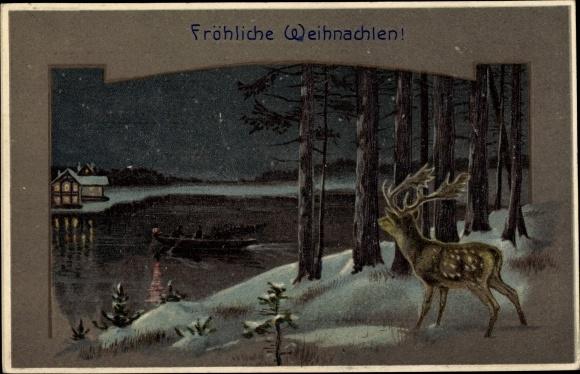 Präge Litho Glückwunsch Weihnachten, Hirsch am Ufer bei Nacht, Ruderboot