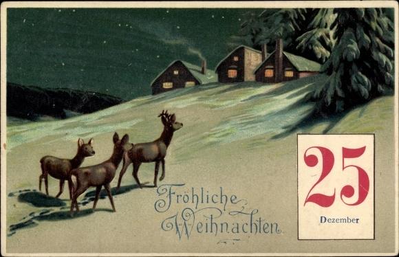 Präge Litho Glückwunsch Weihnachten, Drei Rehe und beleuchtete Häuser, Kalender 25 Dezember