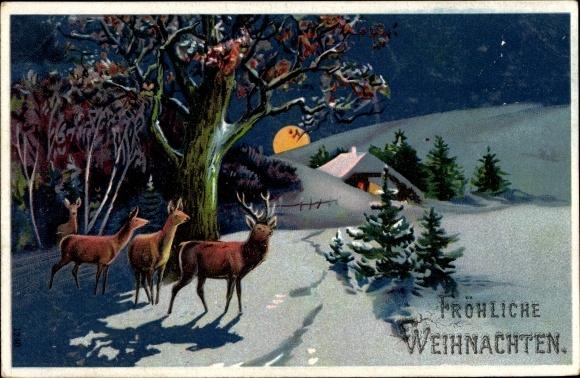 Präge Litho Glückwunsch Weihnachten, Rehe in einer Winterlandschaft, Mondschein, Haus