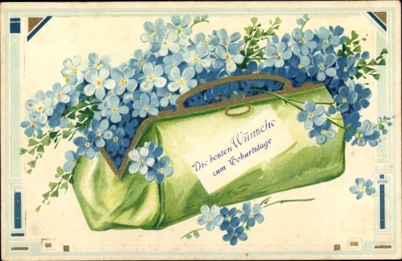 Präge Litho Glückwunsch Geburtstag, Vergissmeinnichtblüten in einer grünen Tasche