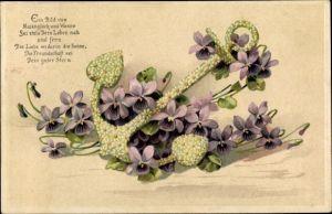 Präge Litho Anker mit Veilchen, Ein Bild von Maienglück und Wonne sei stets Dein Leben