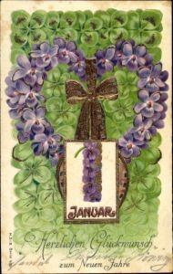 Präge Litho Glückwunsch Neujahr, Herz aus Veilchenblüten, Kleeblätter, Kalenderblatt 1 Januar