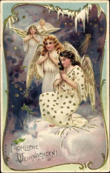Winter Präge Litho Glückwunsch Weihnachten, Betende Engel auf einer Wolke