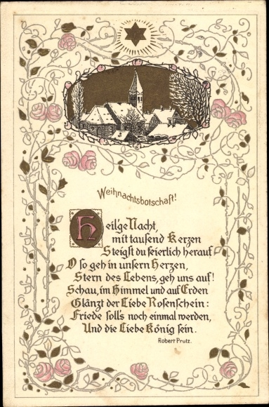 Präge Gedicht Ak Glückwunsch Weihnachten, Weihnachtsbotschaft, Heilige Nacht, mit tausend Kerzen