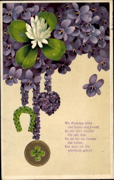 Präge Litho Wo Frohsinn blüht und Scherz und Freud, Veilchenblüten, Kleeblätter, Hufeisen