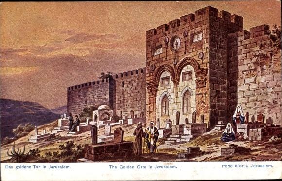Künstler Ak Perlberg, F., Jerusalem Israel, Das goldene Tor in Jerusalem, Gräber