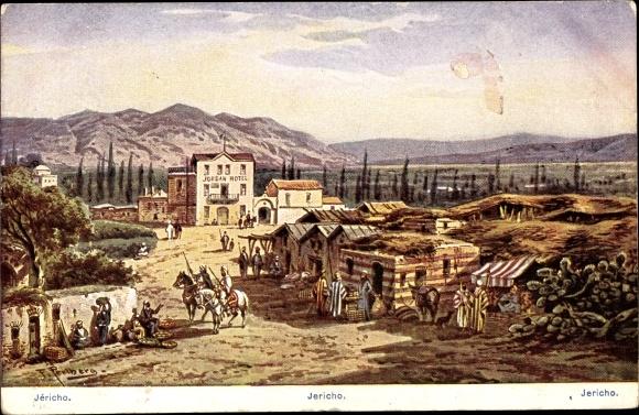 Künstler Ak Perlberg, F., Jericho Palästina, Jordan Hotel, Häuser, Stände