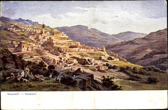 Künstler Ak Perlberg, F., Nazaret Nazareth Israel, Panorama vom Ort