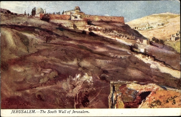 Künstler Ak Fulleylove, F., Jerusalem Israel, The South Wall of Jerusalem, Tuck Karte