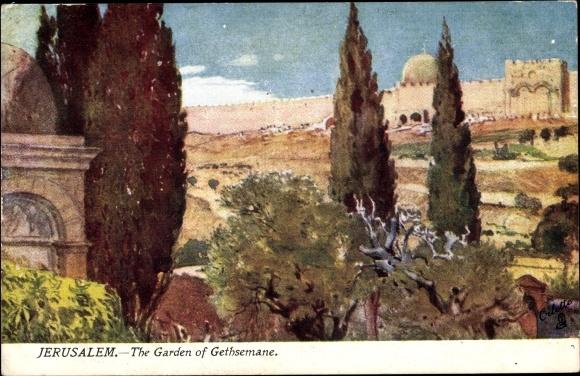 Künstler Ak Fulleylove, F., Jerusalem Israel, The Garden of Gethsemane, Tuck Karte