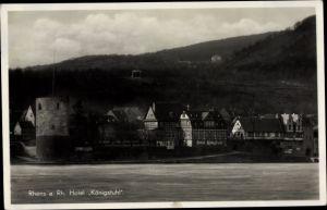 Ak Rhens am Rhein, Hotel Königstuhl, Inh. Jean Leuffen, Fachwerkhäuser, Turm