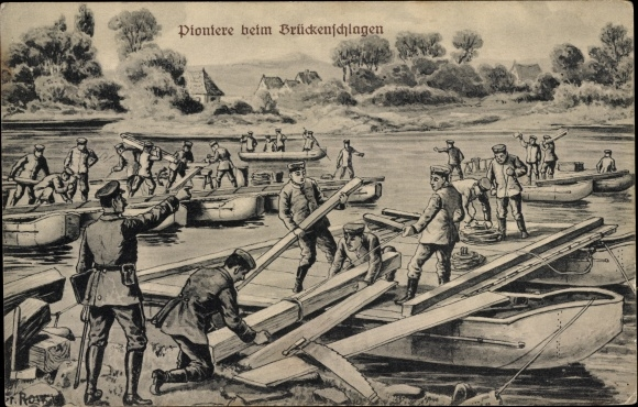 Künstler Ak Row, Fr., Pioniere beim Brückenschlagen, deutsche Soldaten in Uniformen, I. WK