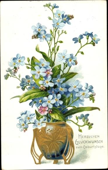 Präge Litho Glückwunsch Geburtstag, Vergissmeinnichtblüten in einer Blumenvase