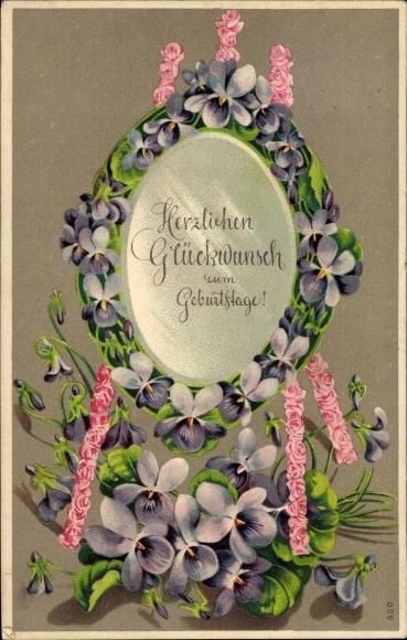 Präge Litho Glückwunsch Geburtstag, Rosa Rosen und lila Veilchenblüten