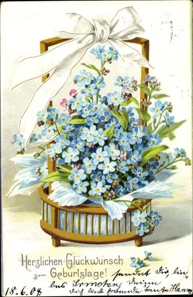 Präge Litho Glückwunsch Geburtstag, Vergissmeinnichtblüten in einem Korb