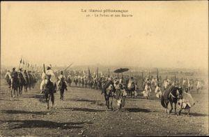 Ak Marokko, Le Sultan et son Escorte, Sultan mit Gefolge, Pferde, Maghreb