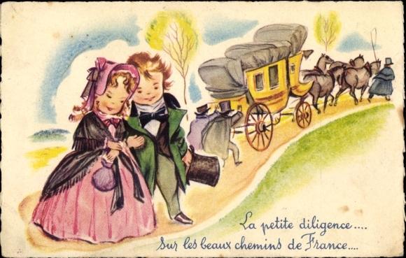 Künstler Ak La petite diligence, sur les beaux chemins de France, Männer schieben Kutsche,Liebespaar