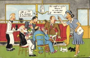 Künstler Ak Betrunkene Männer spielen Karten, schimpfende Frau