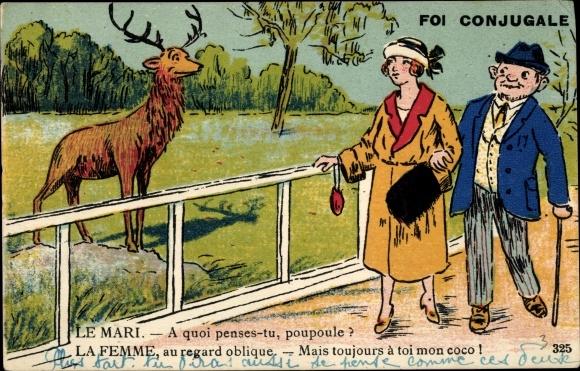 Künstler Ak Foi Conjugale, Mari, Femme, Ehepaar betrachtet einen Hirsch