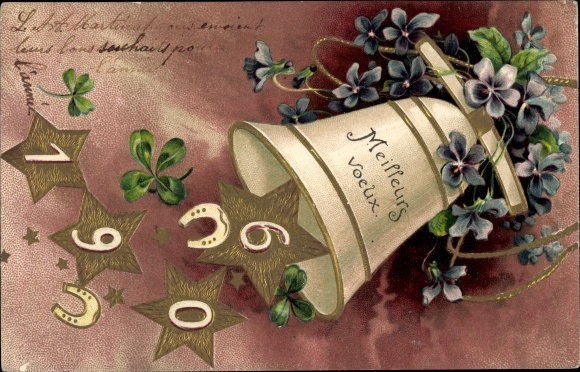 Präge Litho Glückwunsch Neujahr, Jahreszahl 1906, Glocke, Hufeisen, Kleeblätter, Veilchenblüten