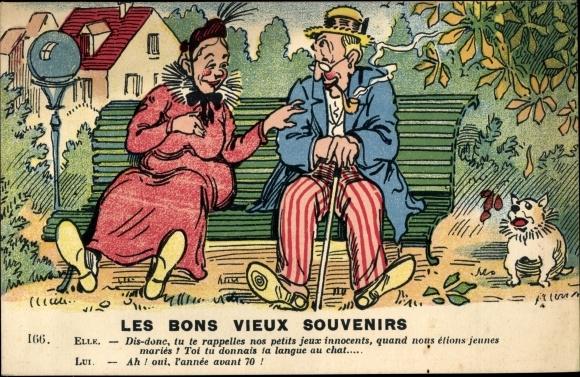 Künstler Ak Les bons vieux souvenirs, Mann mit Pfeife und Frau auf einer Bank sitzend
