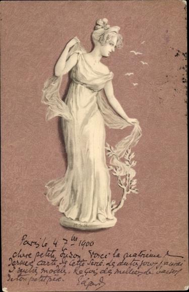 Jugendstil Ak Frau in langem dünnen Kleid mit Schultertuch