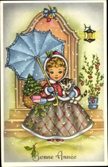 Ak Glückwunsch Neujahr, Mädchen mit Katze im Arm und Regenschirm, Tannenbaum