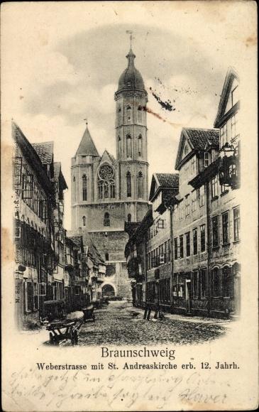 Ak Braunschweig in Niedersachsen, Weberstraße mit St. Andreaskirche