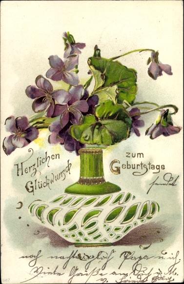 Präge Litho Glückwunsch Geburtstag, Veilchenblüten in einer Blumenvase