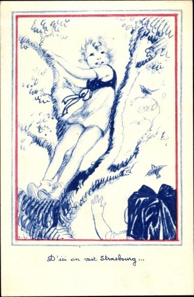Künstler Ak Mädchen auf einem Baum, Frau in Elsässer Volkstracht